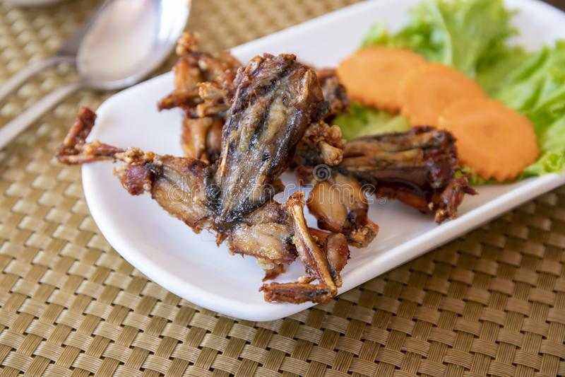 Fried frogs with vegetables on white plate, Cambodian traditional dish. Khmer national food. Cambodia cuisine. Frog meat grilled. Exotic food of South Asia stock image