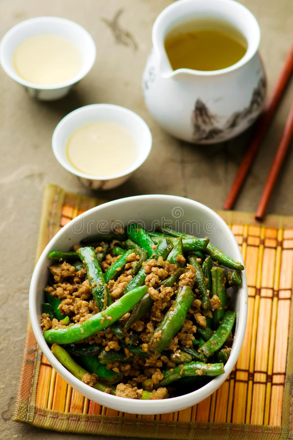 Fried green beans on Chinese royalty free stock images