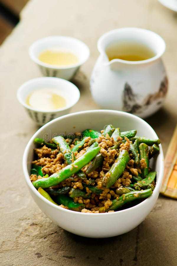 Fried green beans on Chinese royalty free stock photo
