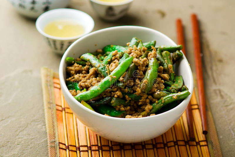 Fried green beans on Chinese royalty free stock image
