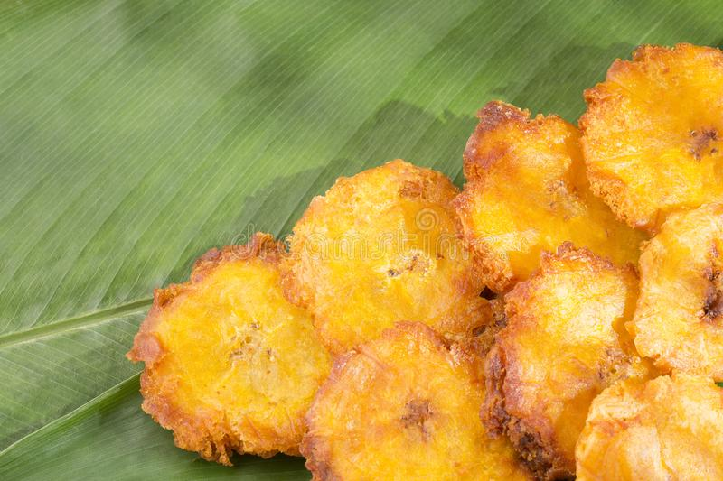 Fried Green Plantains eller Tostones royaltyfri fotografi