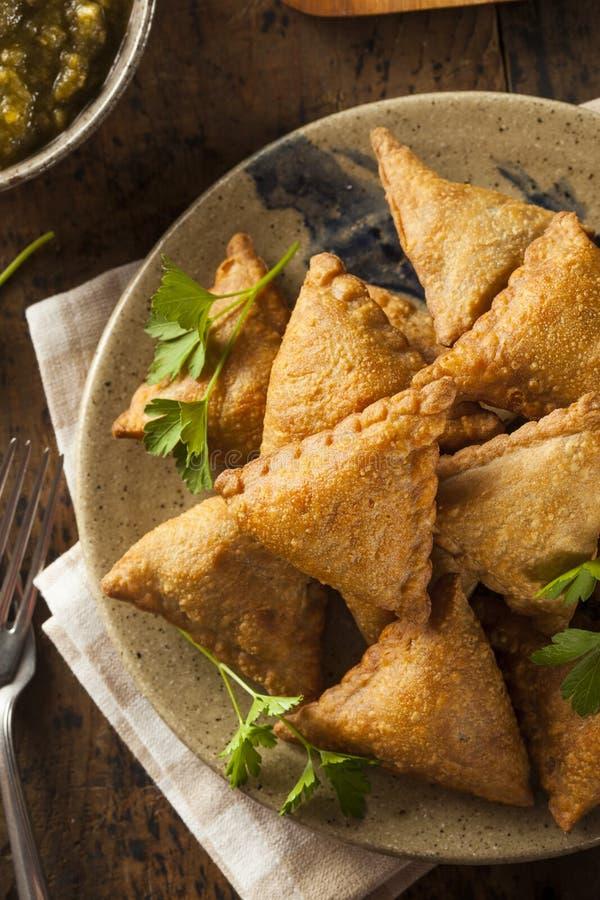 Fried Indian Samosas fait maison photographie stock libre de droits