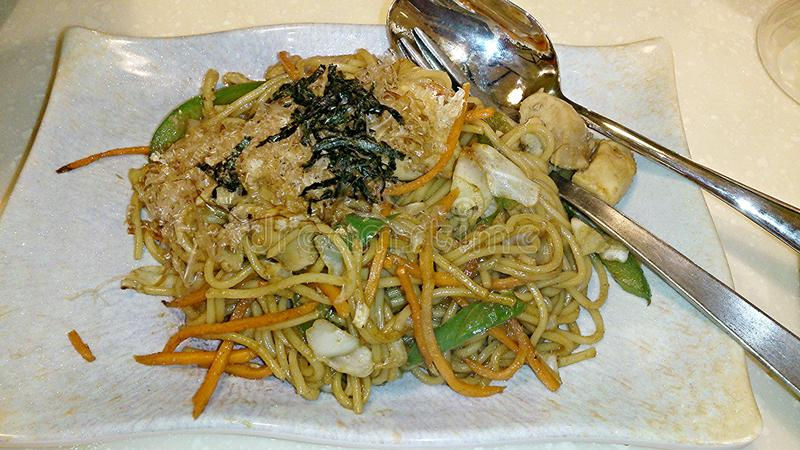 Fried Japanese noodles stock photography