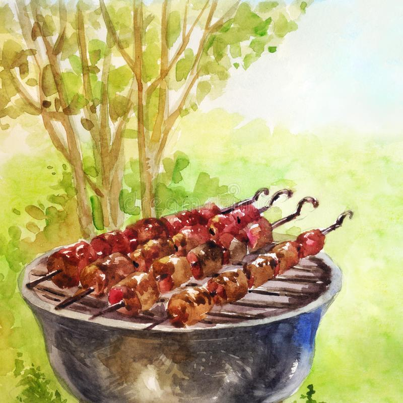 Fried kebabs on the grill. Rest outside the city. Watercolor ill. Ustration suitable for article or text on the blog about summer holidays stock illustration