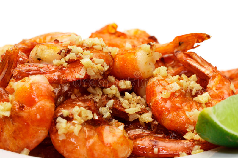 Fried King Prawns Served in Plate royalty free stock photography