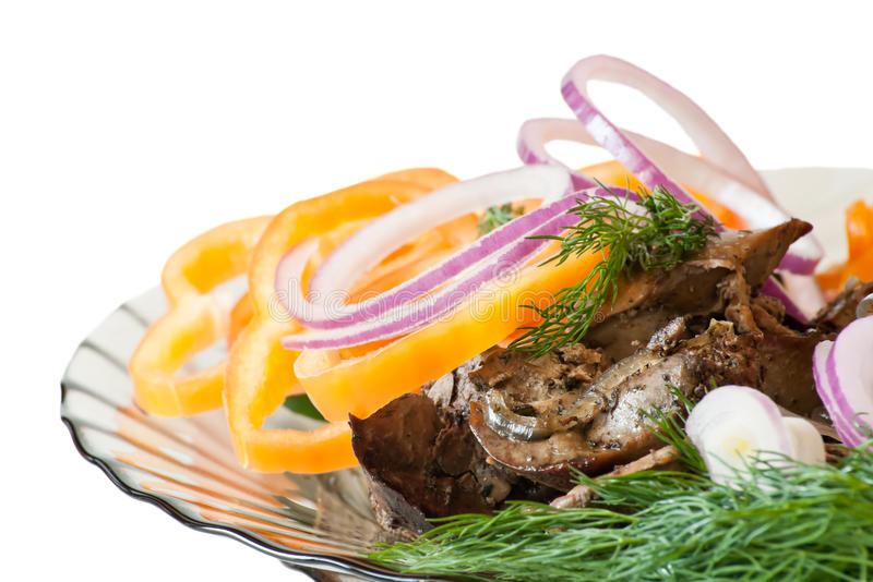 Fried liver. Dish wiht fried liver with sweet pepper and fennel stock photography