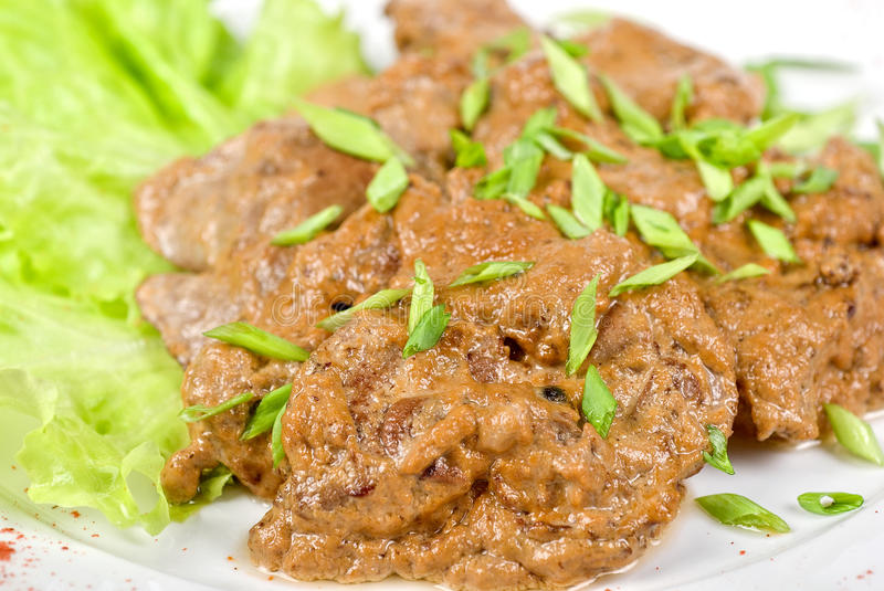 Fried liver of a rabbit stock photography