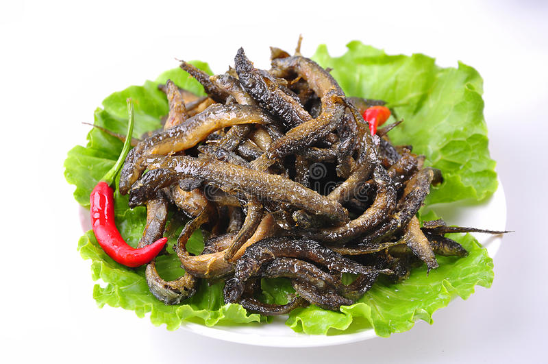 Fried loach. Chinese food,Pepper loach royalty free stock photography