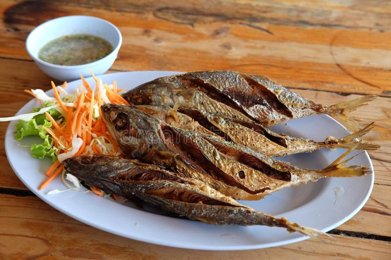 Fried mackarel with fish sauce stock photos