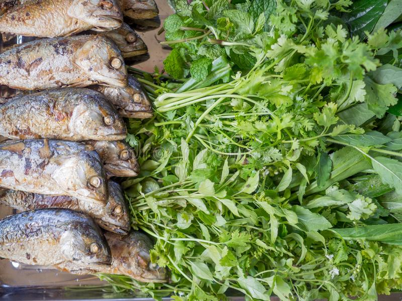 Fried mackerel with vegetables Ready for cooking stock photos