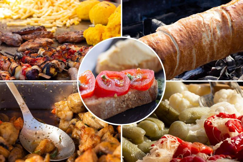 Food collage. Fried meat and cooked food collage with European cuisine closeup on a dining table stock image