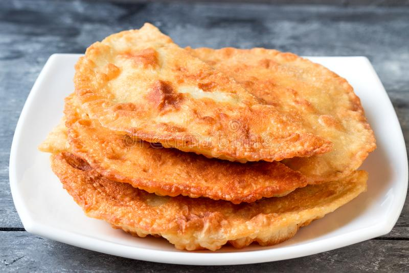 Fried meat patties. Tatar pasties stock photography