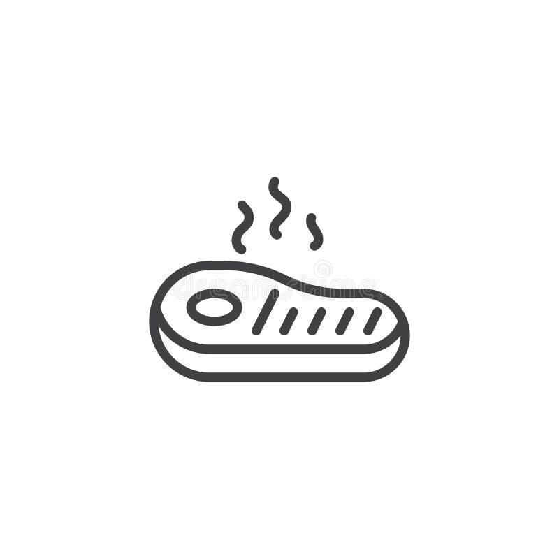 Fried meat steak line icon stock illustration