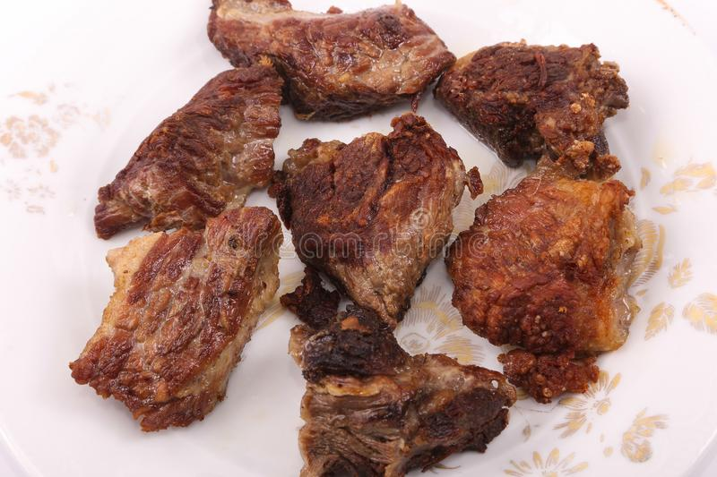 Fried Meats Meal. Fried Meat meal on white plate stock photography