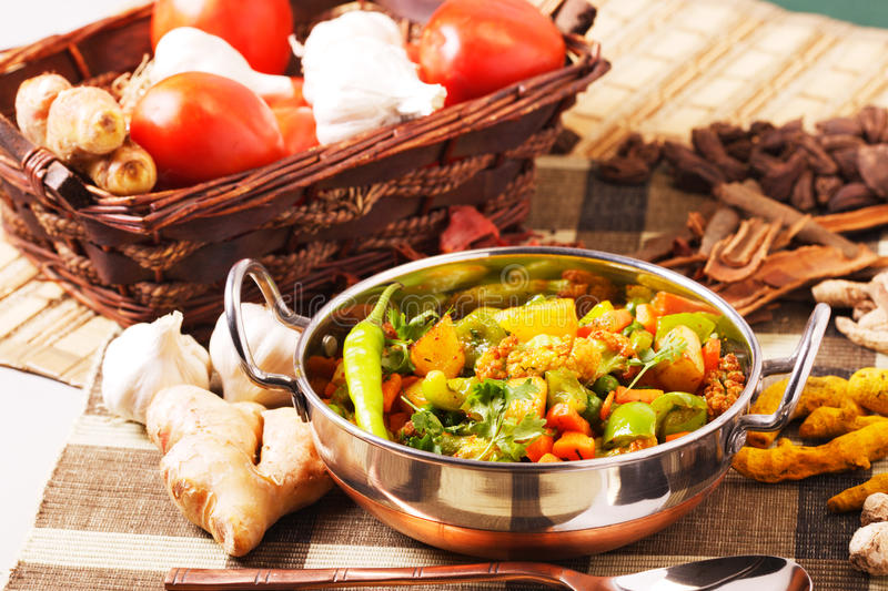 Fried mixed vegetable stock photos
