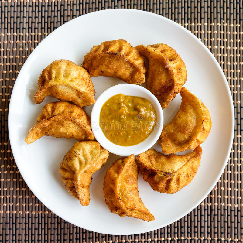 Fried Nepalese momos royalty free stock photography
