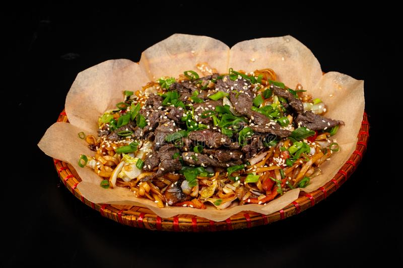 Fried noodle with beef. Asian cuisine - Fried noodle with beef royalty free stock image
