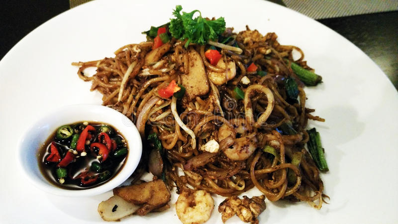 Fried noodle with chillies stock images