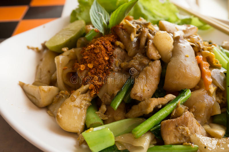 Fried noodle with pork. Thai food royalty free stock photos