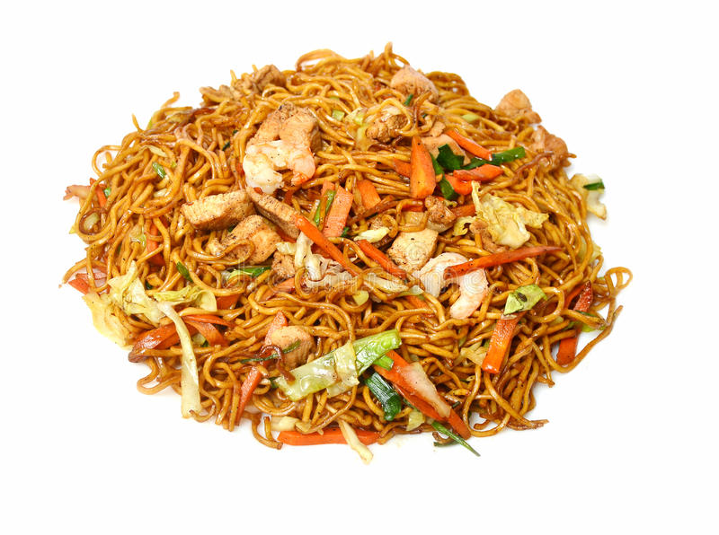Fried noodle. Portion on white background royalty free stock photos