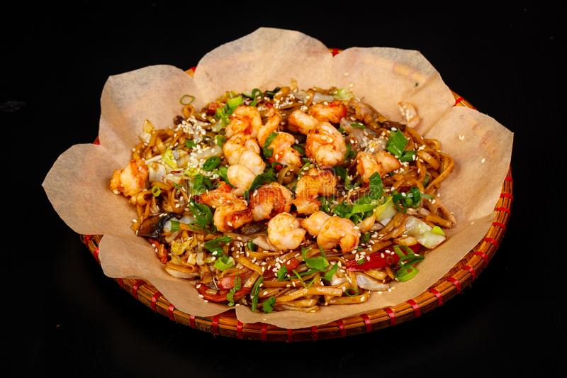 Fried noodle with prawn. Asian cuisine - Fried noodle with prawn royalty free stock images