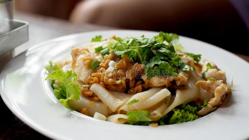 Fried Noodles with Chicken. Stir fried Chicken Noodles and egg. Thai food. stock photos