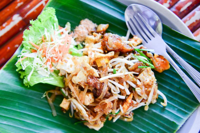 Fried noodles with shrimp or pad thai. Popular thai food stock photo