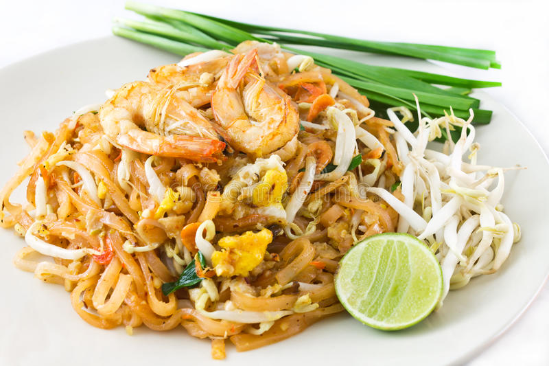 Fried noodles Sticks with Shrimp royalty free stock photo