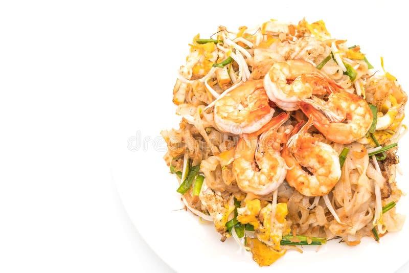 """Fried Noodles tailandese """"cuscinetto tailandese"""" con i gamberetti o i gamberetti fotografia stock"""