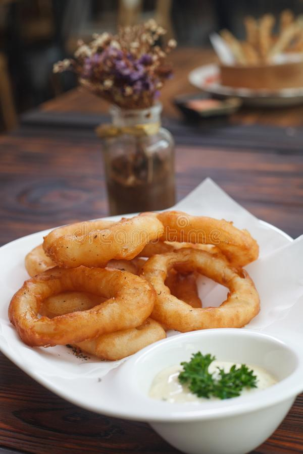 Fried onion stock images