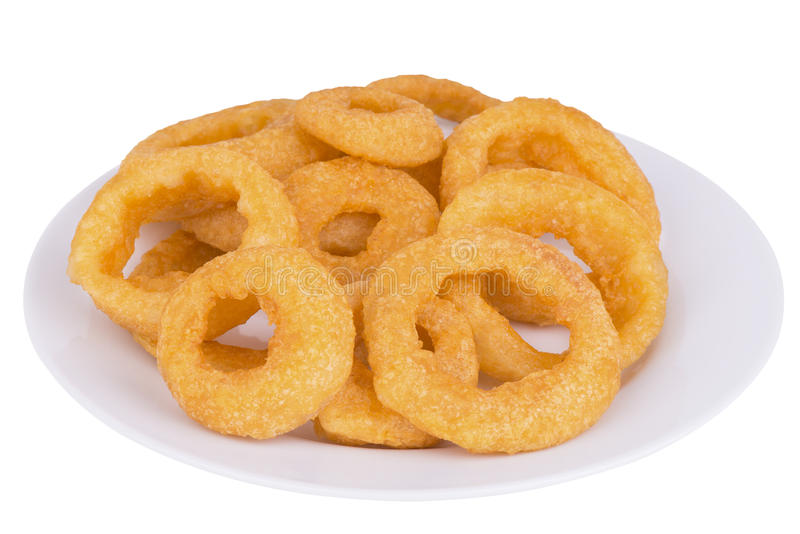 Fried onion rings. Close up on fried onion rings , isolated on white background stock photos