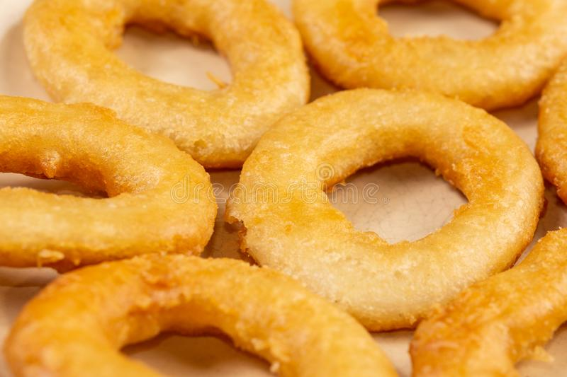 Fried Onion Rings served on the plate royalty free stock images