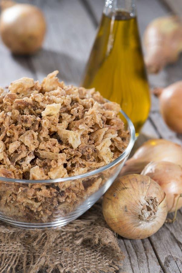 Fried Onions caseiro fotografia de stock royalty free