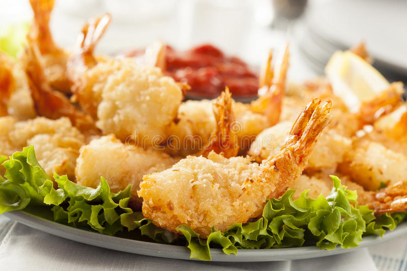 Fried Organic Coconut Shrimp royalty-vrije stock afbeeldingen