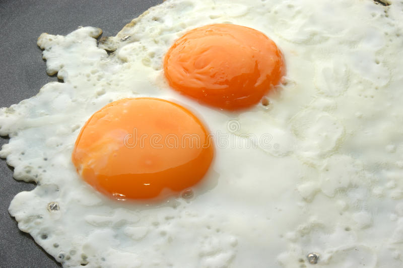 Fried organic eggs in a pan. Two fried organic eggs in a pan stock image