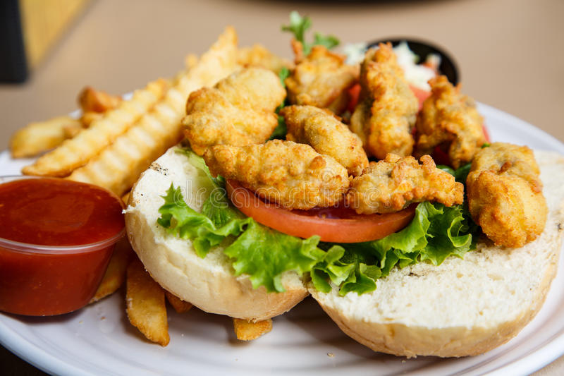 Fried Oyster Sandwich photographie stock