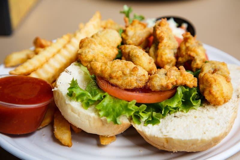 Fried Oyster Sandwich arkivbild