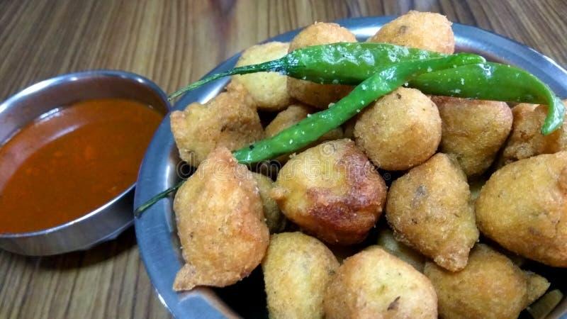 Fried Pakora with chutneyi stock photos