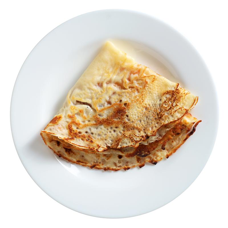 Fried pancake in plate royalty free stock photography