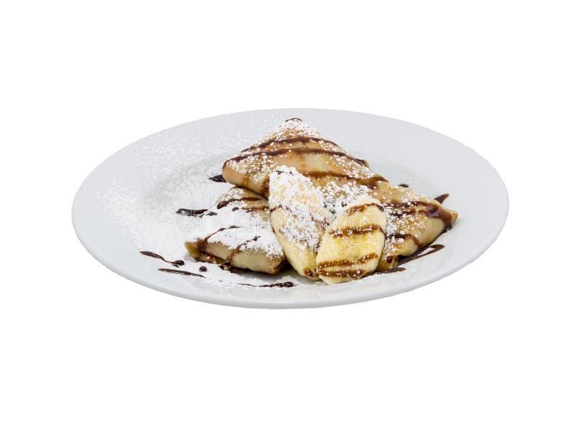 Fried pancakes with banana royalty free stock photo