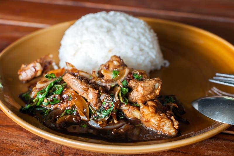 Fried Pork com arroz fotografia de stock