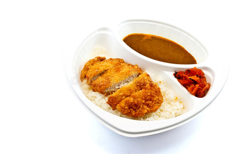 Fried pork curry. With rice and ginger royalty free stock photos