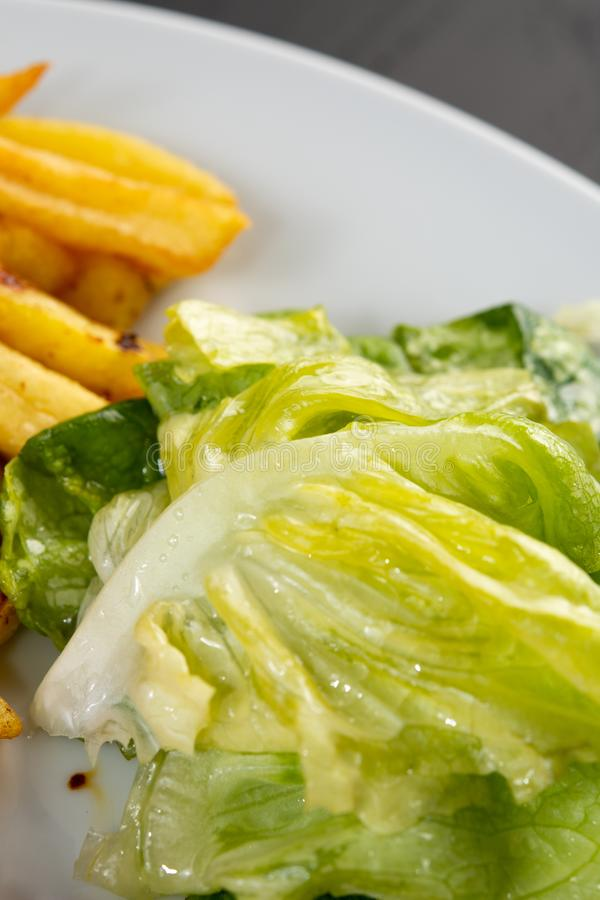 Fried pork meat served with french fries and lettuce on the plate royalty free stock images