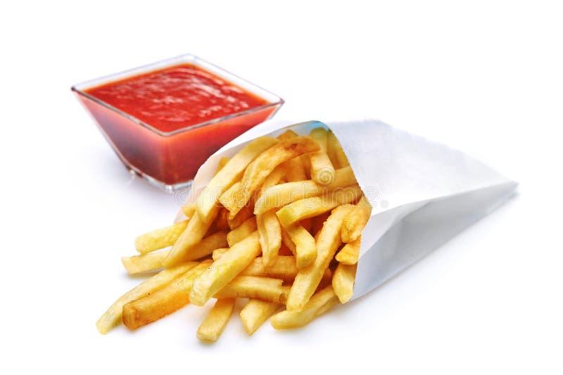 Fried Potato avec la tomate d'isolement sur le fond blanc image stock