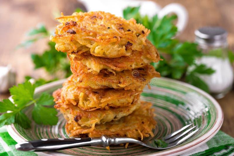 Fried potato pancakes stock photography