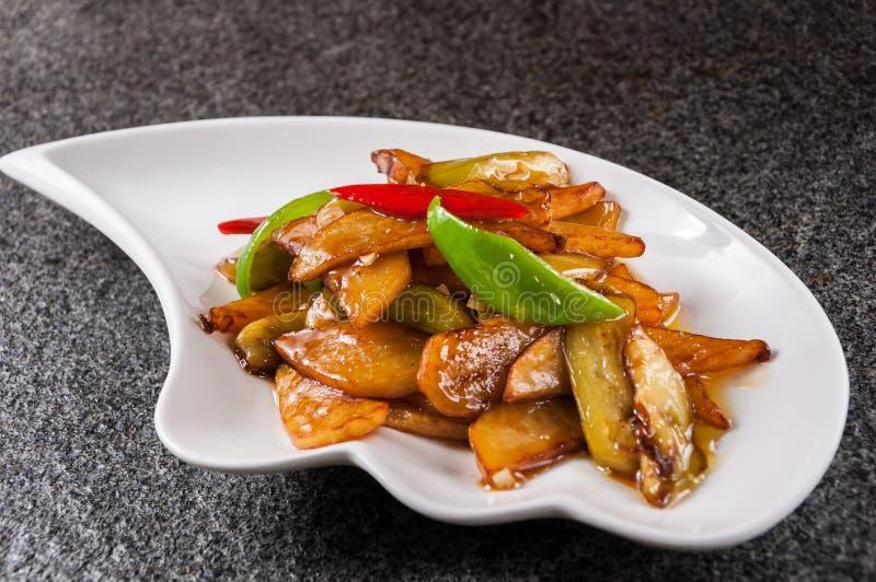 Fried Potato, poivron vert et aubergine photo libre de droits