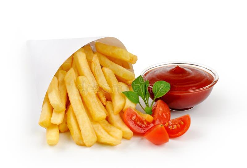 Fried Potato with tomato stock photo