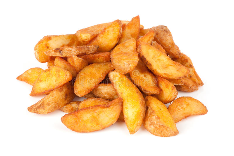 Fried Potato wedges. Fast food royalty free stock images