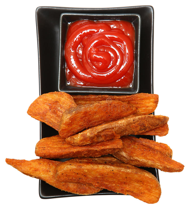 Fried Potato Wedges et ketchup image stock