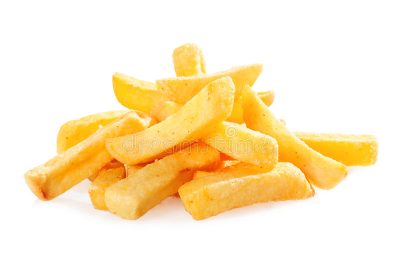Fried potato wedges. Pile of golden crispy fried potato wedges or French fries for a fast food snack on a white background stock photography